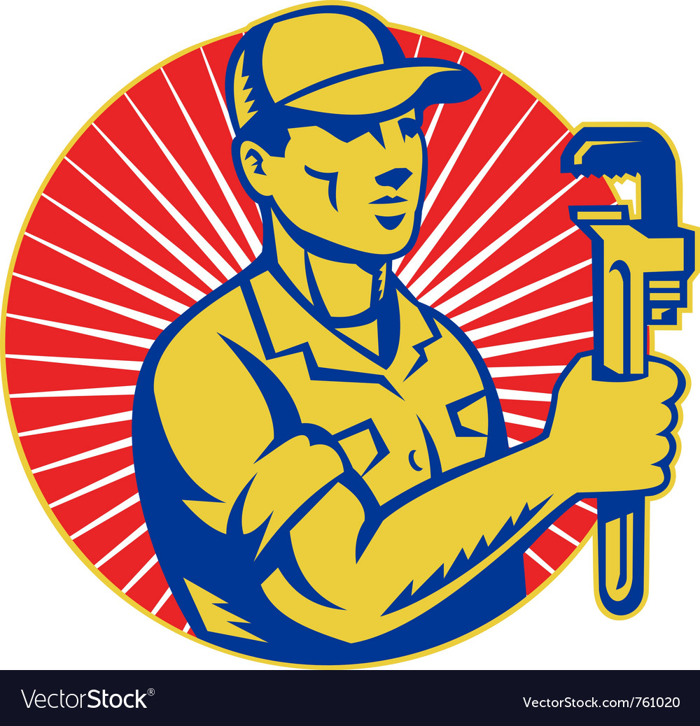 Plumber holding monkey wrench vector image