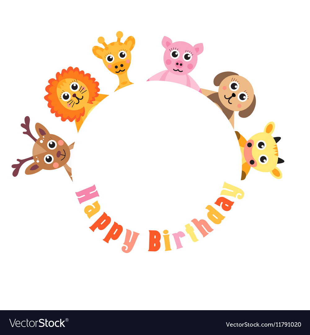 Postcard Happy Birthday cute animals Blank space