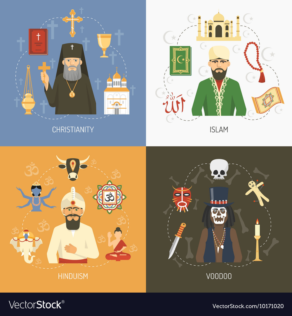 Religions Concept 4 Flat Icons Square