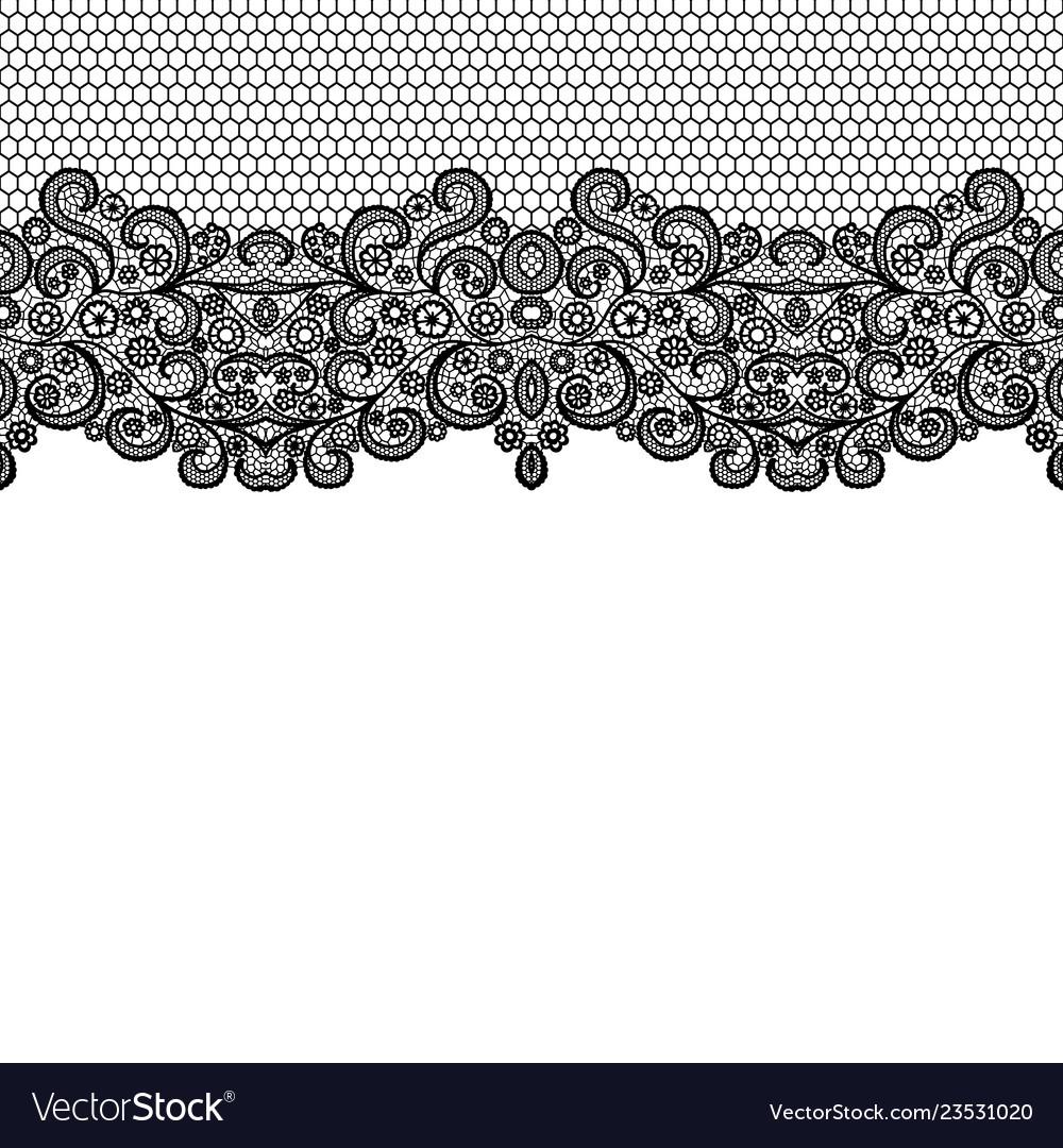 Seamless Vintage Black Lace Border Invitation Card