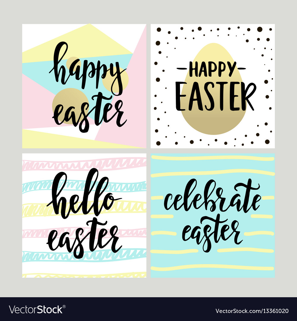 Set with happy easter gift cards with calligraphy