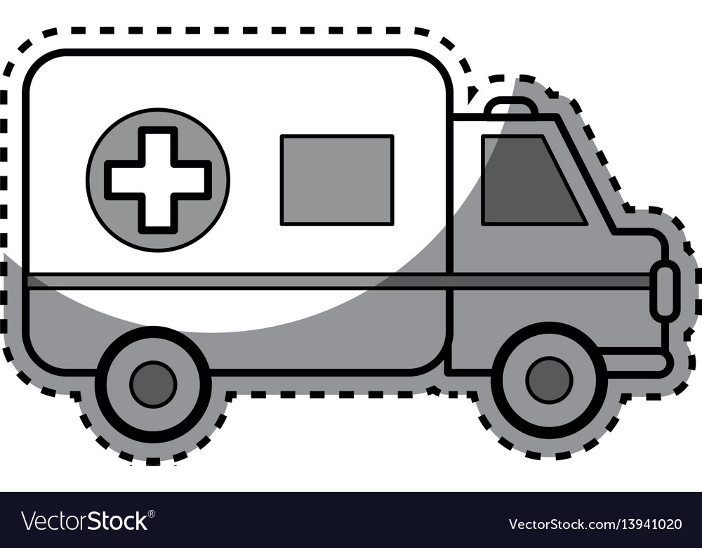 Silhouette ambulance emergency care life vector image