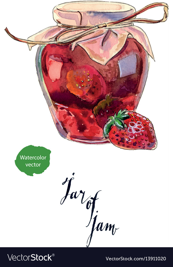 Strawberry jam in a glass jar and fresh berry