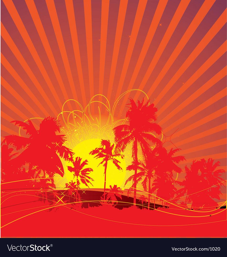 Tropical rising sun vector image