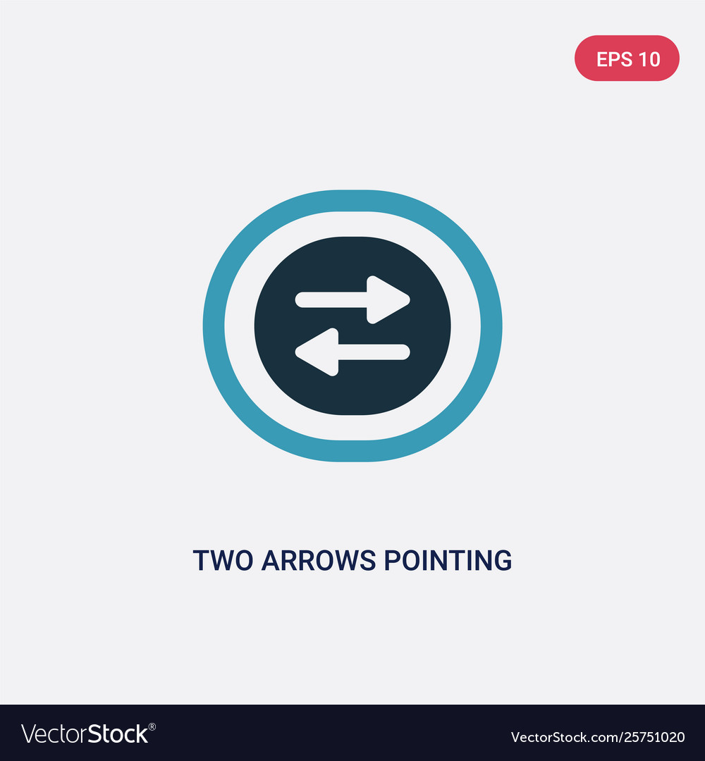 Two color two arrows pointing right and left icon