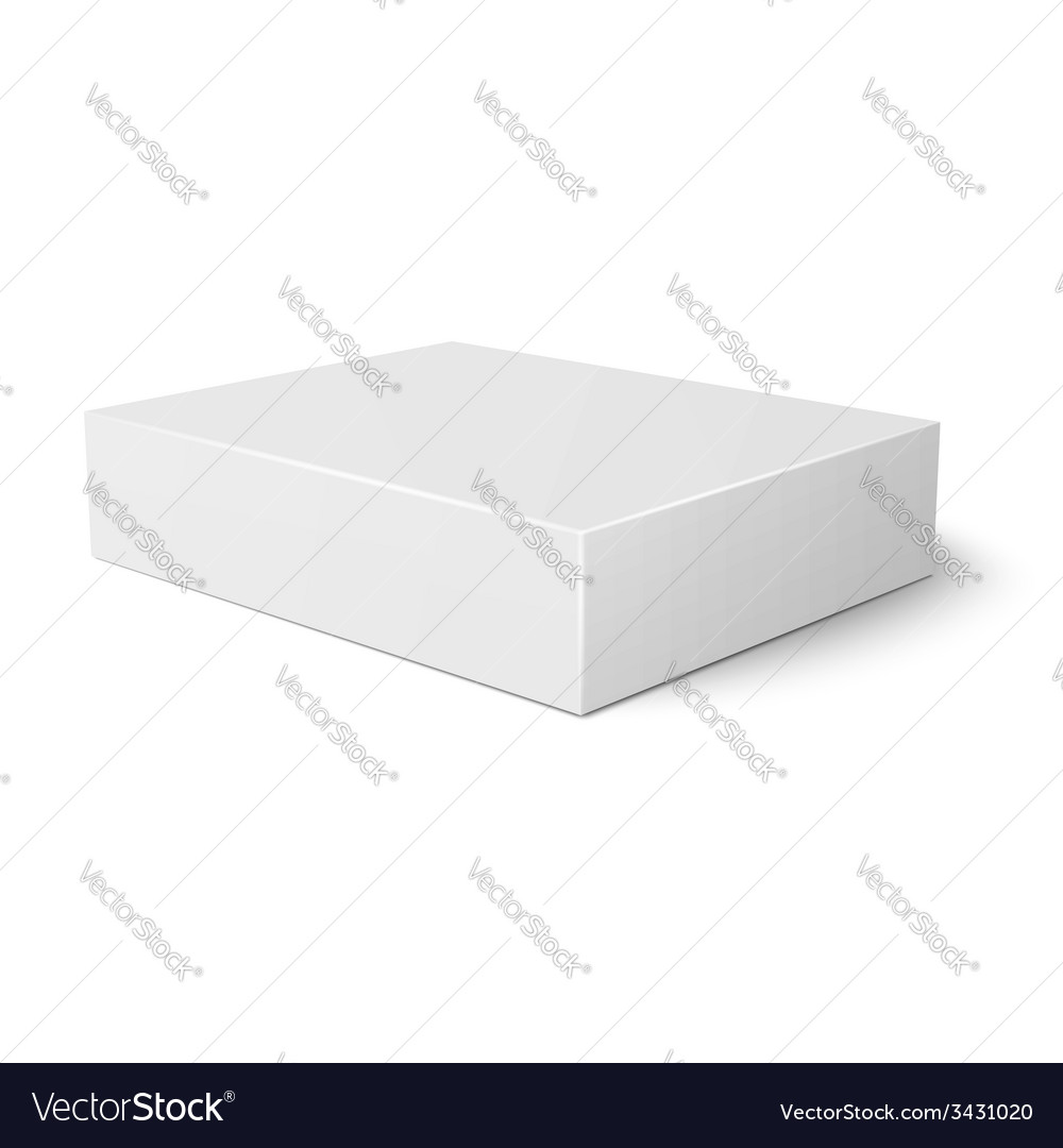 white flat paper box template royalty free vector image
