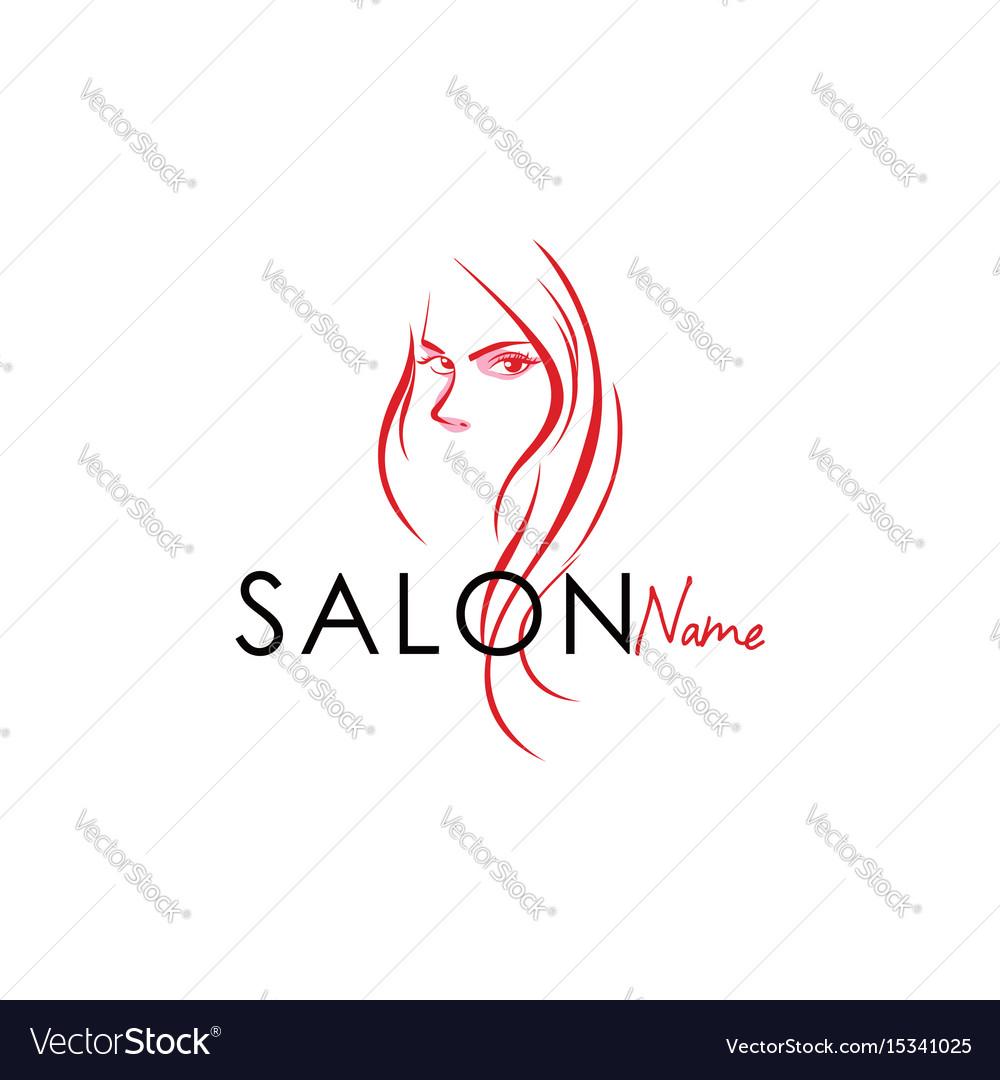 Beauty Salon Line Art Logo Design Royalty Free Vector Image