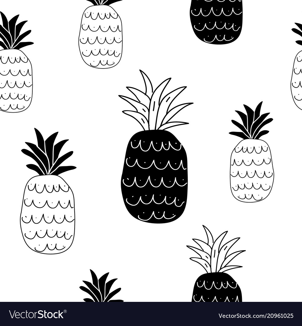 Black and white pineapples seamless pattern