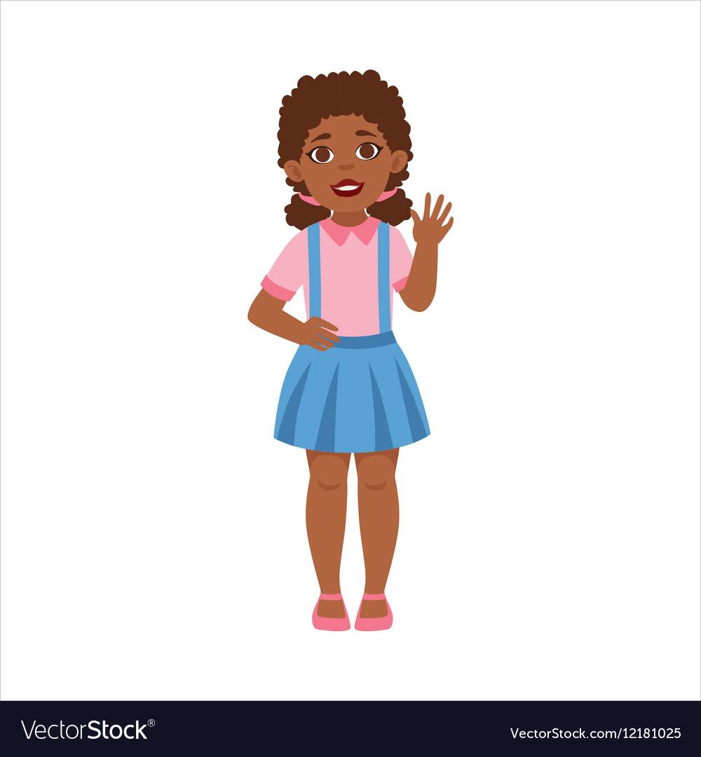 Black Teenage Girl Waving Part Of Growing Stages