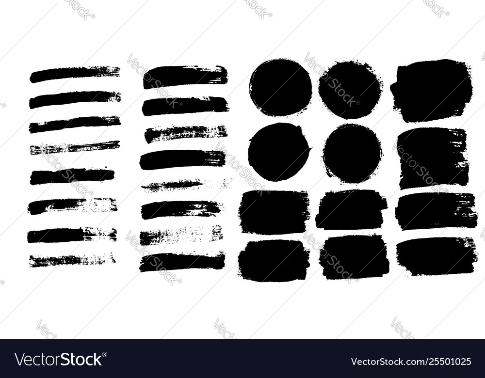 Brush strokes set isolated on white background