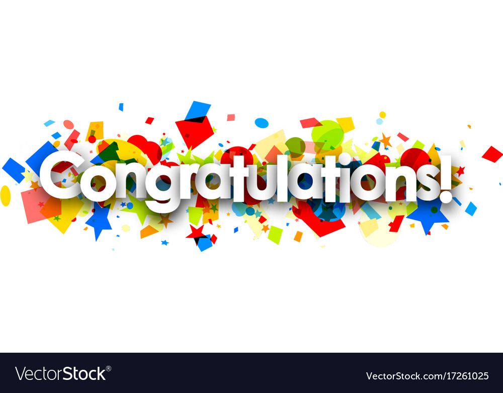 congratulations banner with colorful confetti vector image