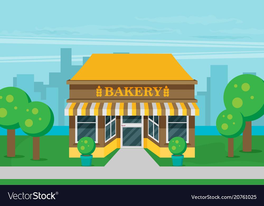 Facade of bakery flat