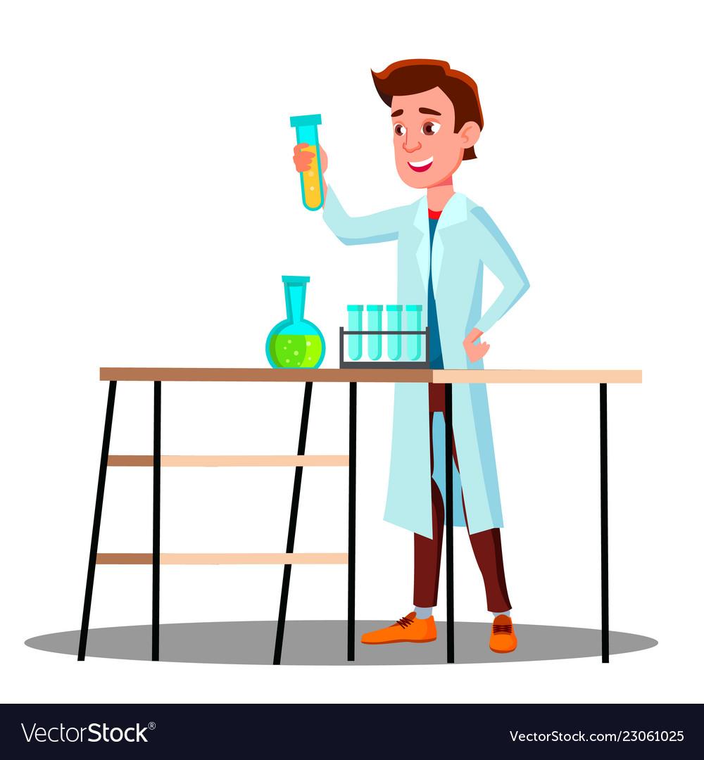 Laboratory technician guy growing medicinal