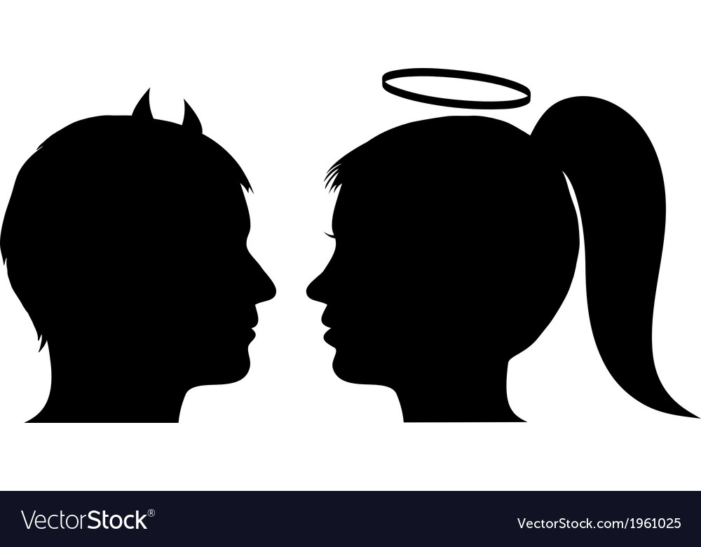 Male devil and female angel vector image