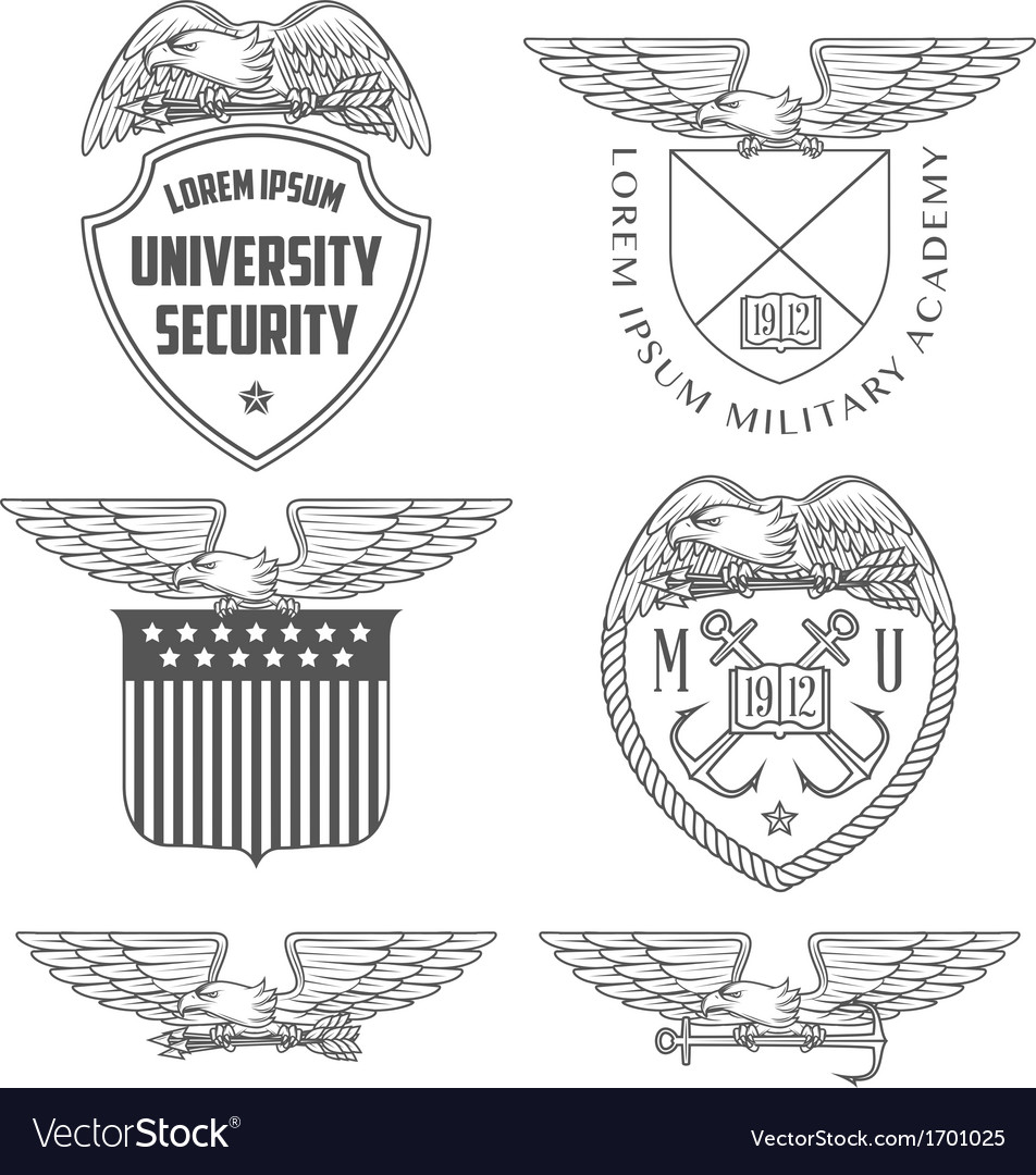 Military labels badges and design elements