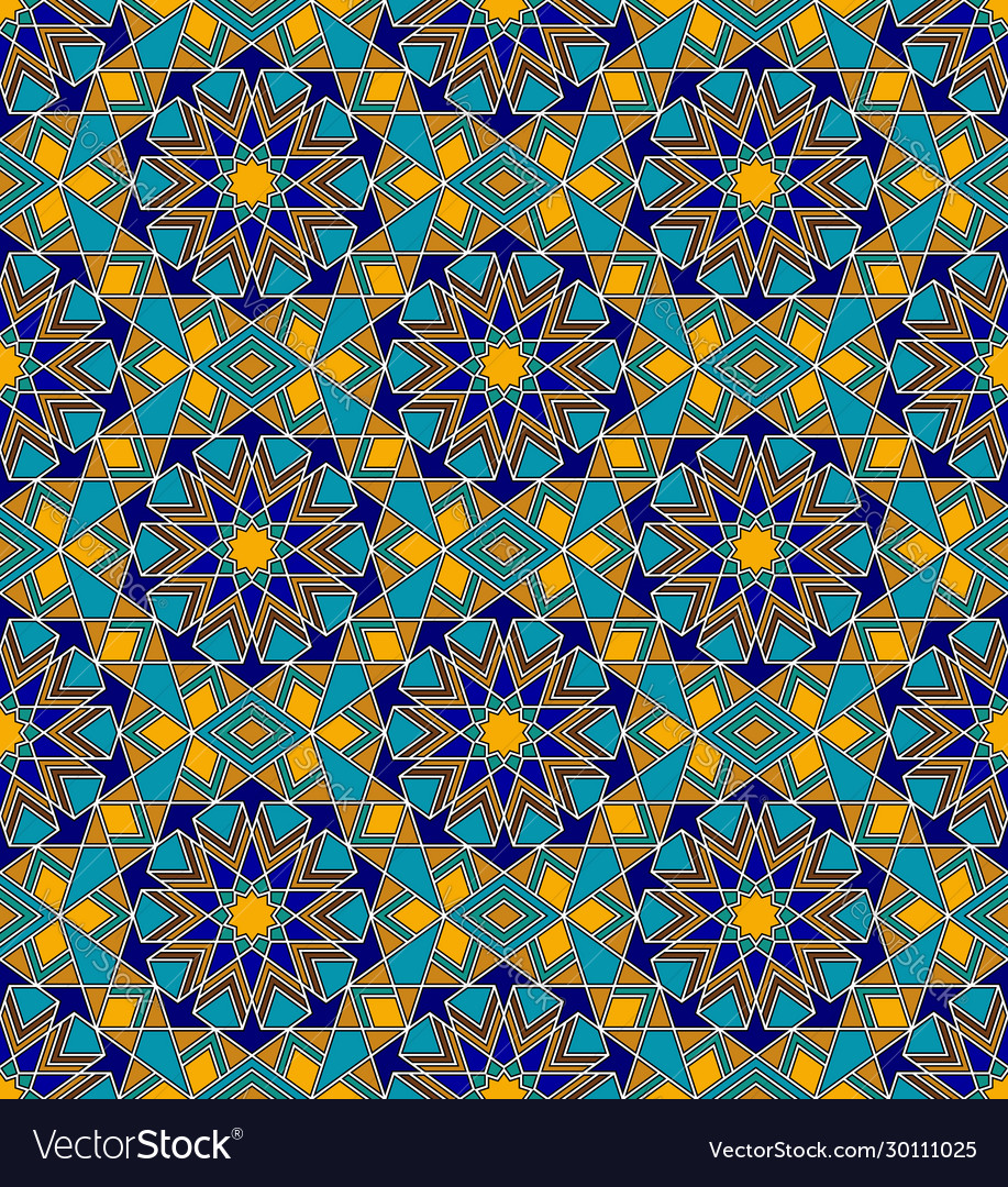 Mosaic seamless pattern with arabic geometric
