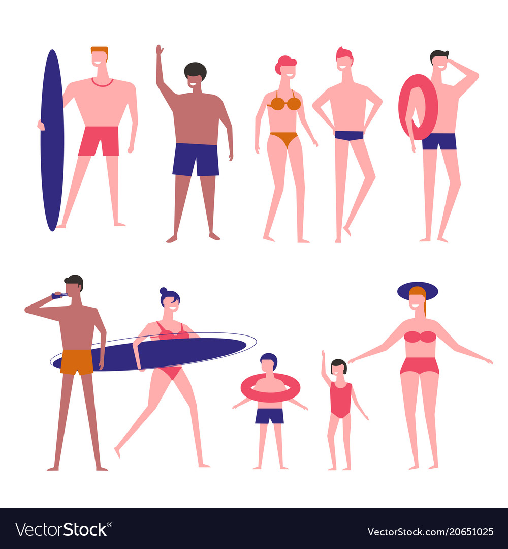 People at beach flat isolated icons