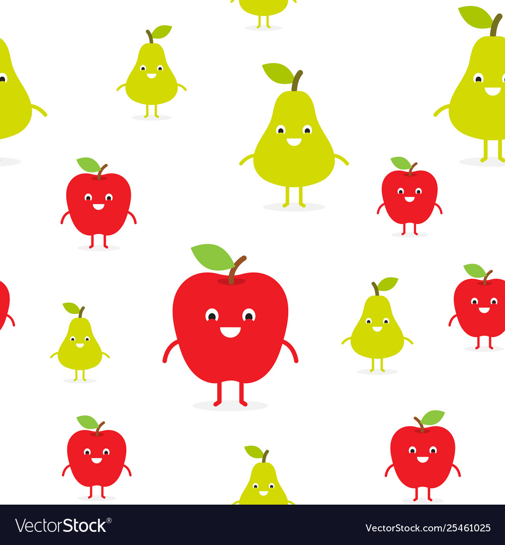Seamless pattern with funny happy apples and pears