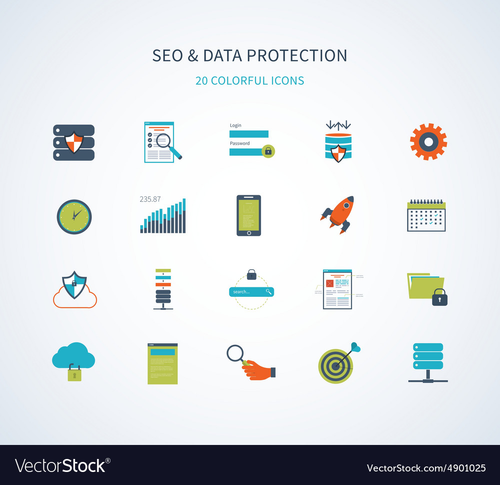 Seo and data protection icons