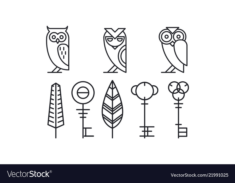 Set of 8 decor elements owls keys and leaves