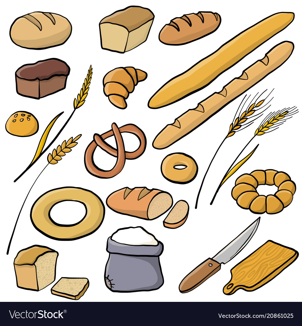 Set of bread and bakery