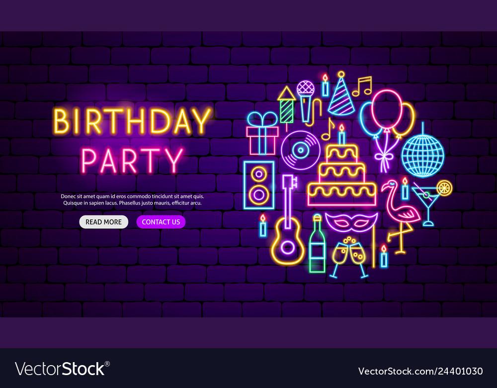 Birthday party neon banner design