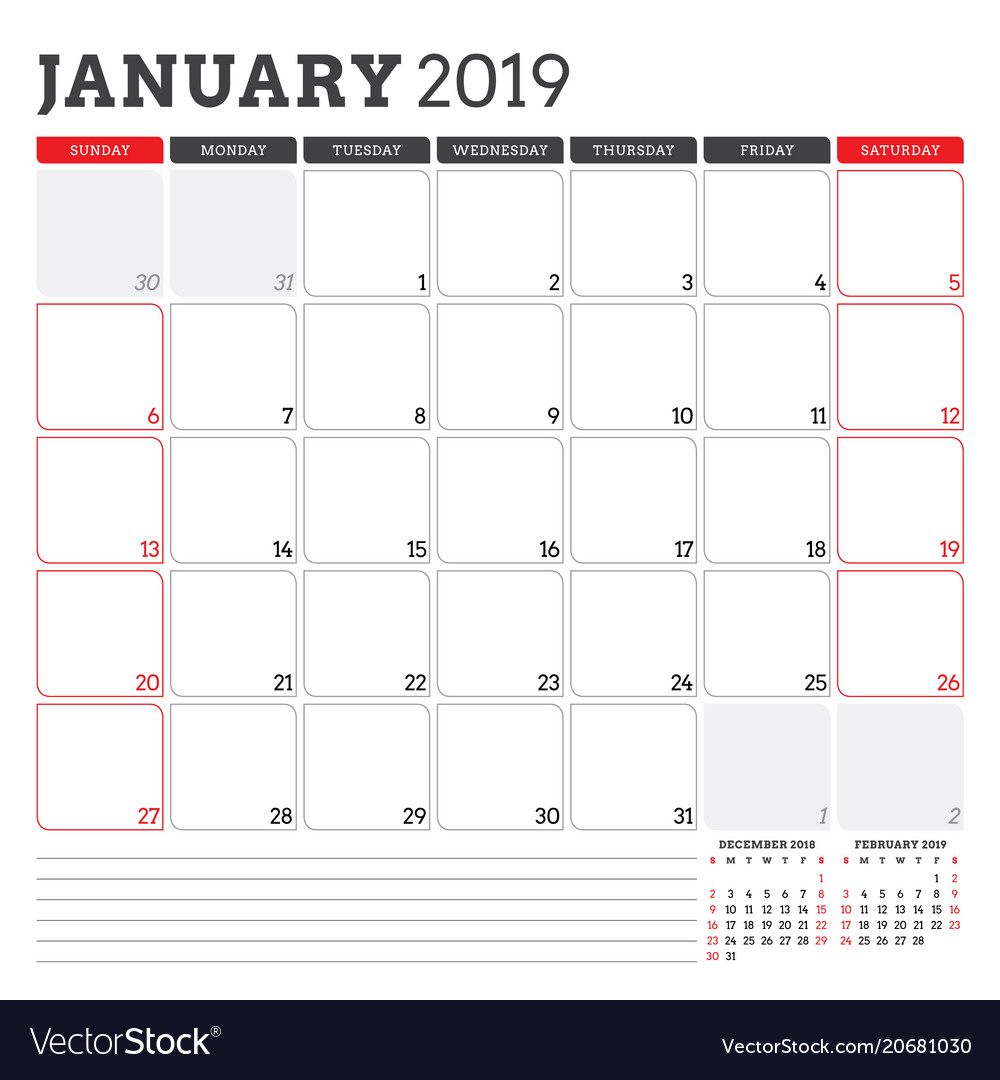 2019 Planner Calendar Calendar planner for january 2019 week starts on Vector Image