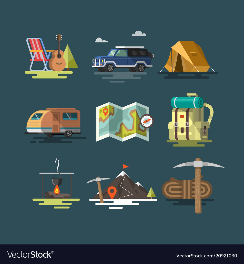 Camping set of camping equipment symbols
