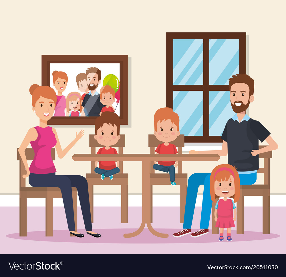 Cute Family Happy In Dining Room Characters Vector Image