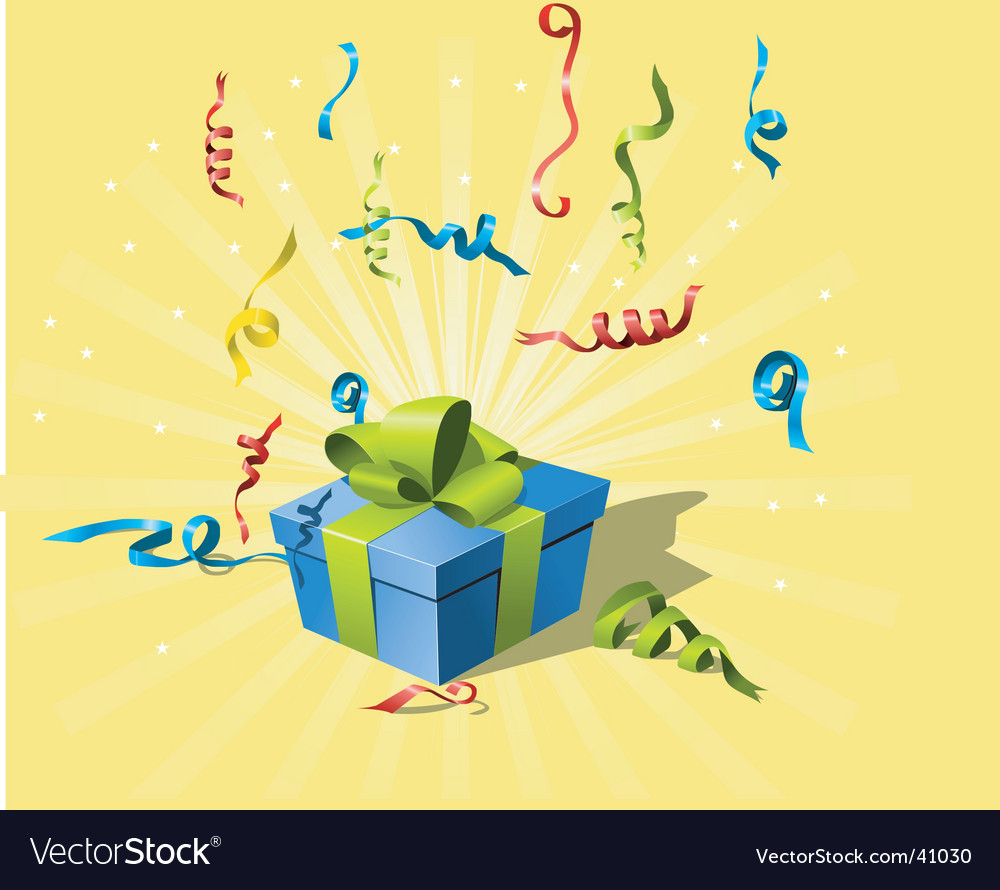 Flying confetti and gift box