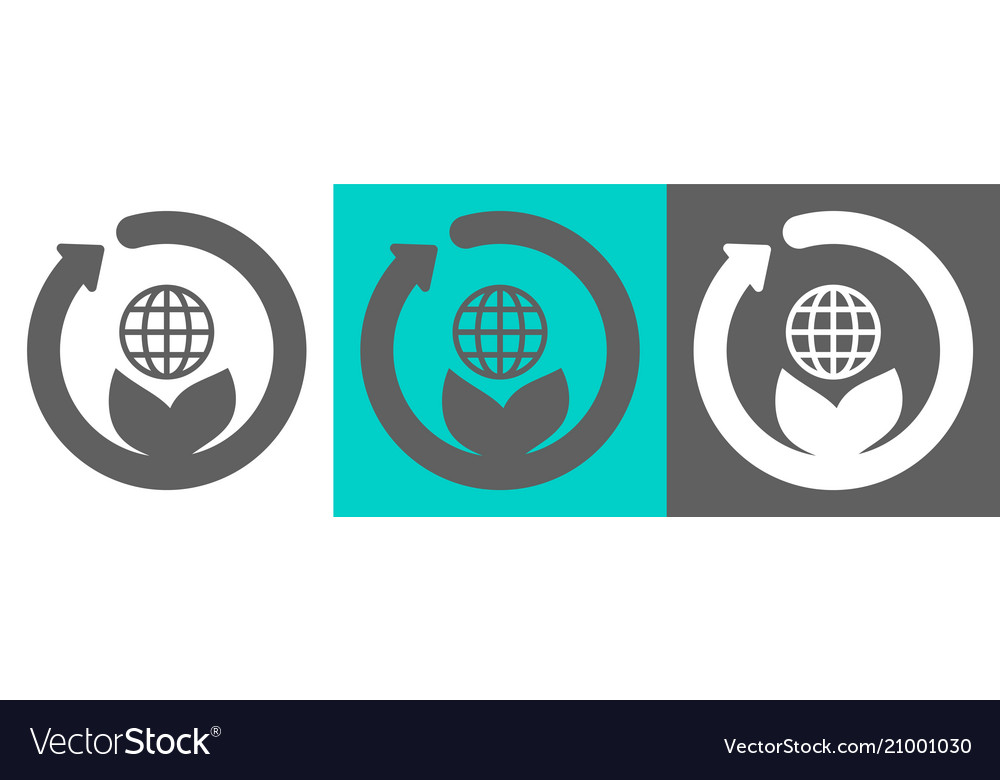Globe on the leaves flat style logo vector image