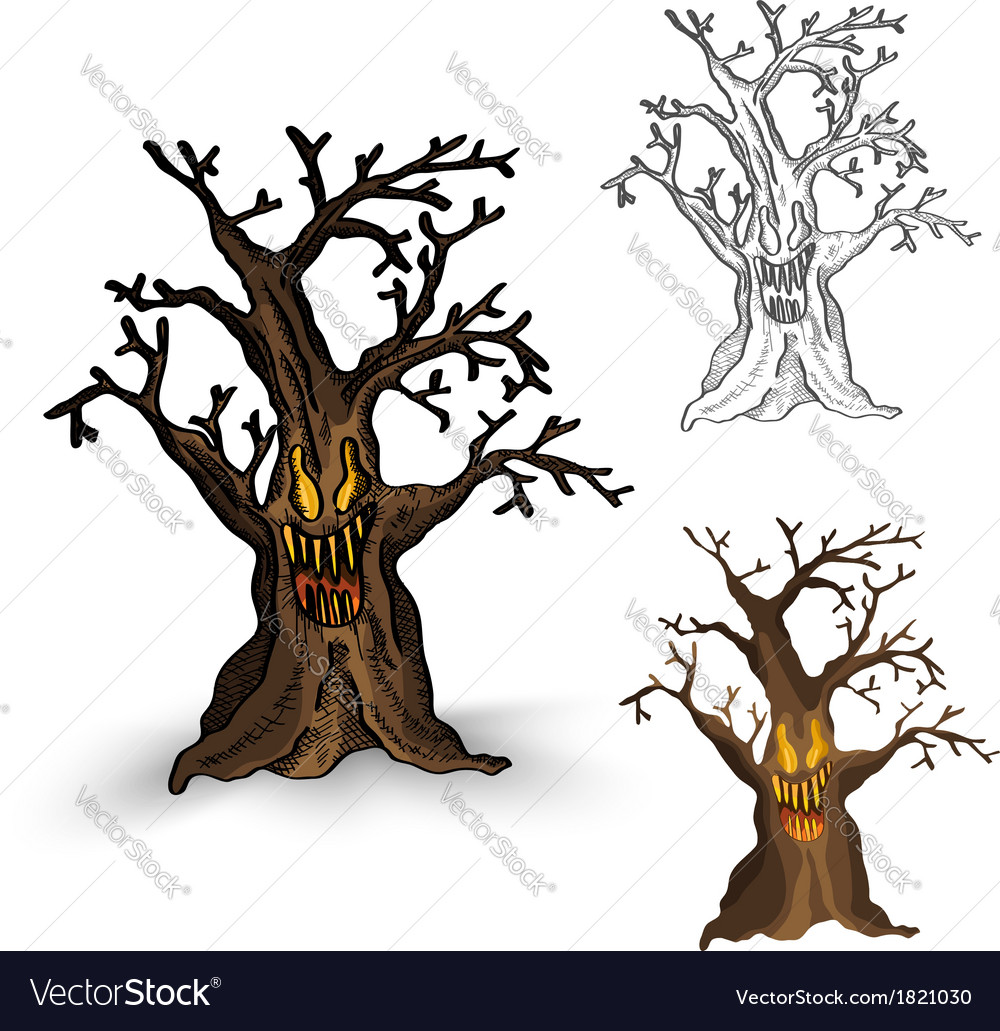Halloween monsters isolated spooky haunted tree