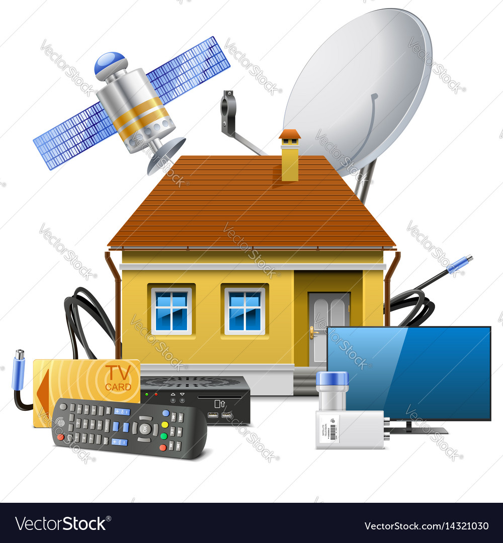 House with satellite equipment vector image