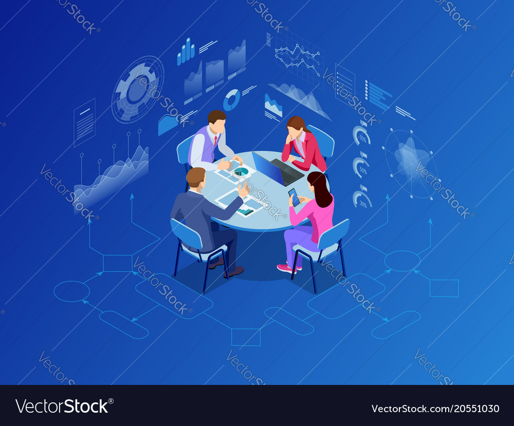Isometric business people talking conference
