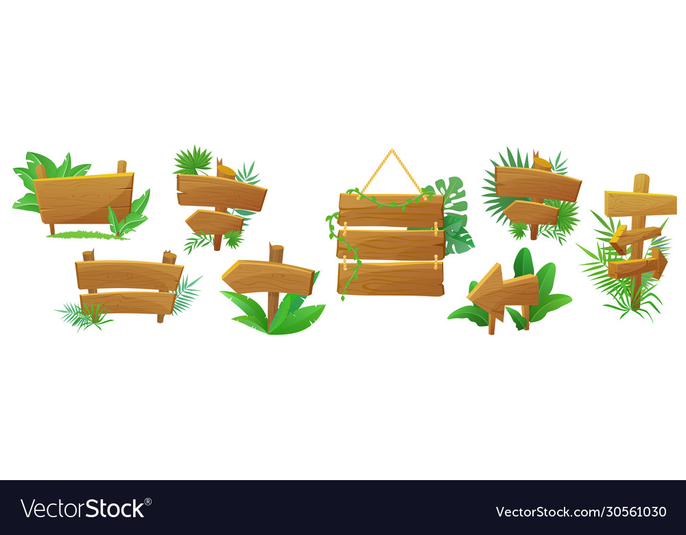Jungle style exotic wooden arrow signpost
