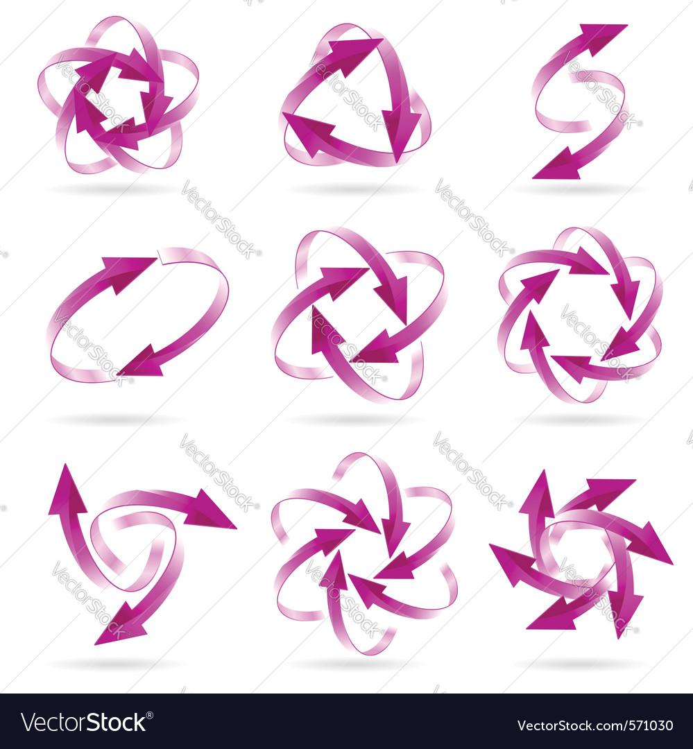 Magenta arrow circles vector image