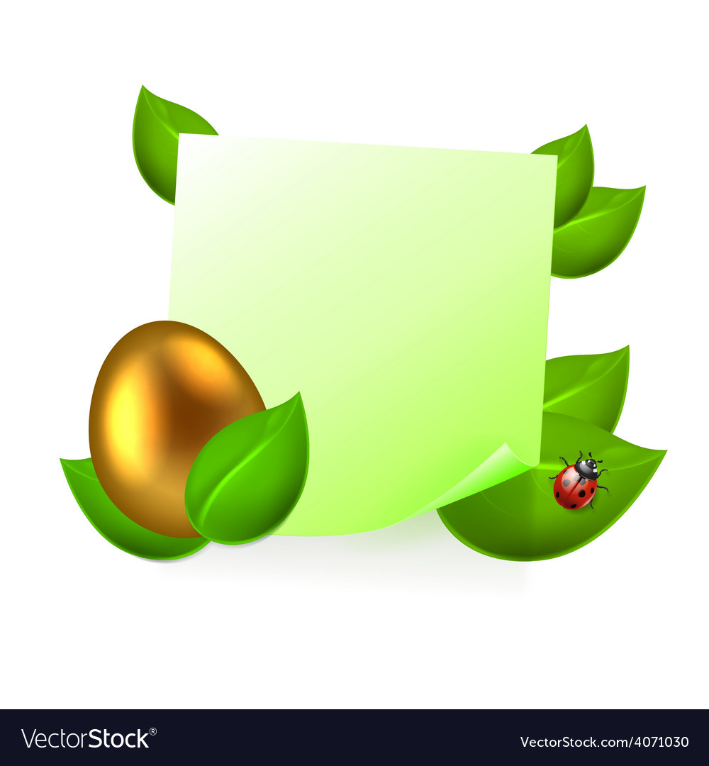 Note with golden easter egg in green leaves