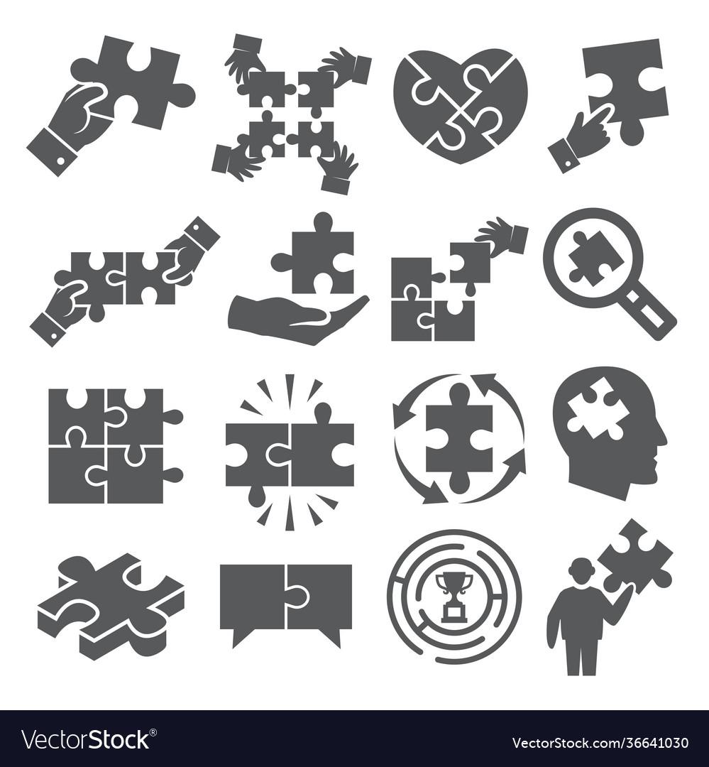 Puzzle icons set on white background