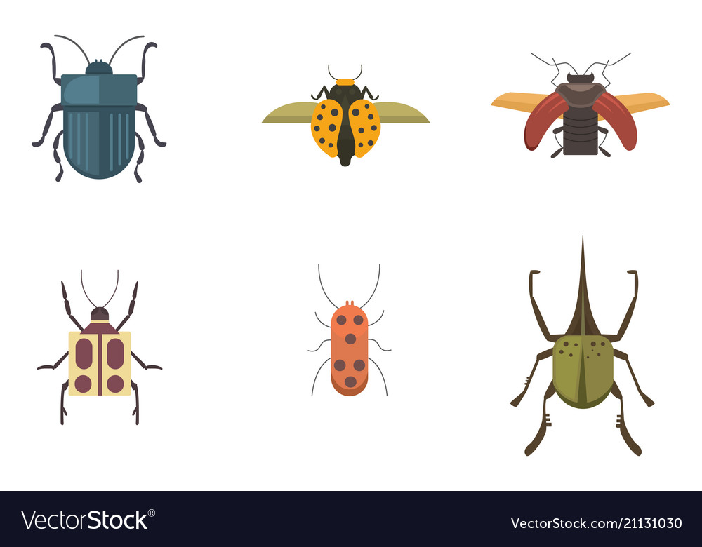 Set of insects flat style design icons