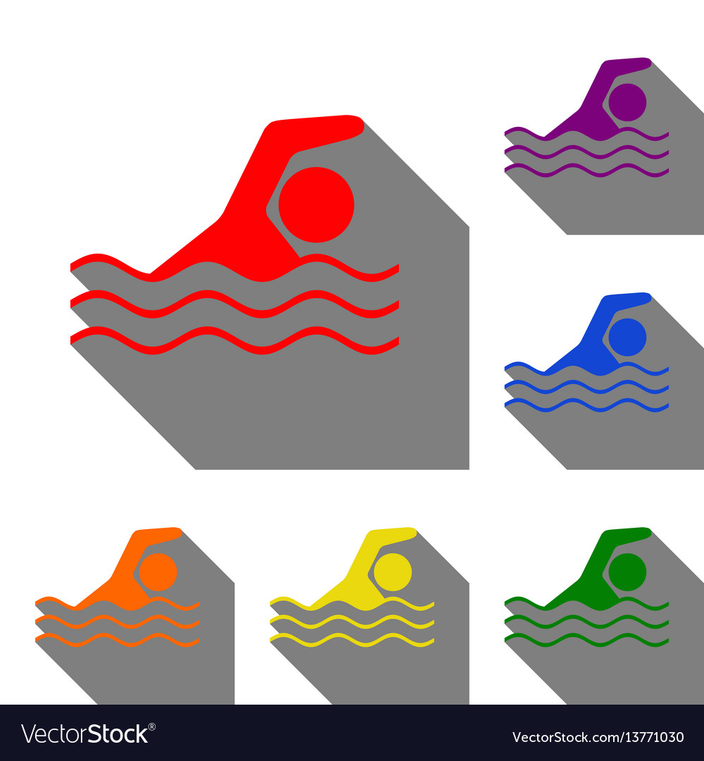 Swimming water sport sign set of red orange