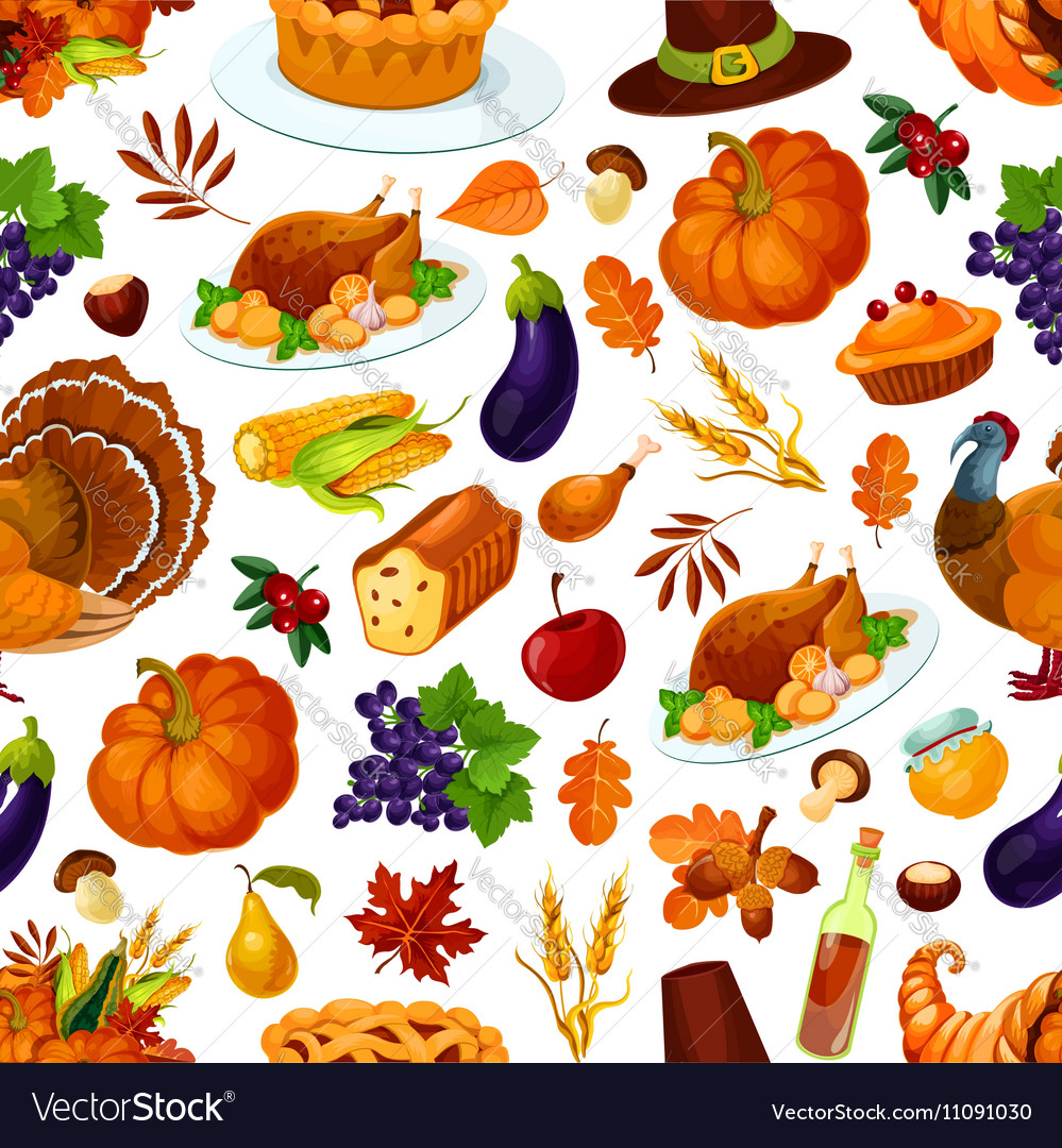 Thanksgiving holiday colorful seamless pattern