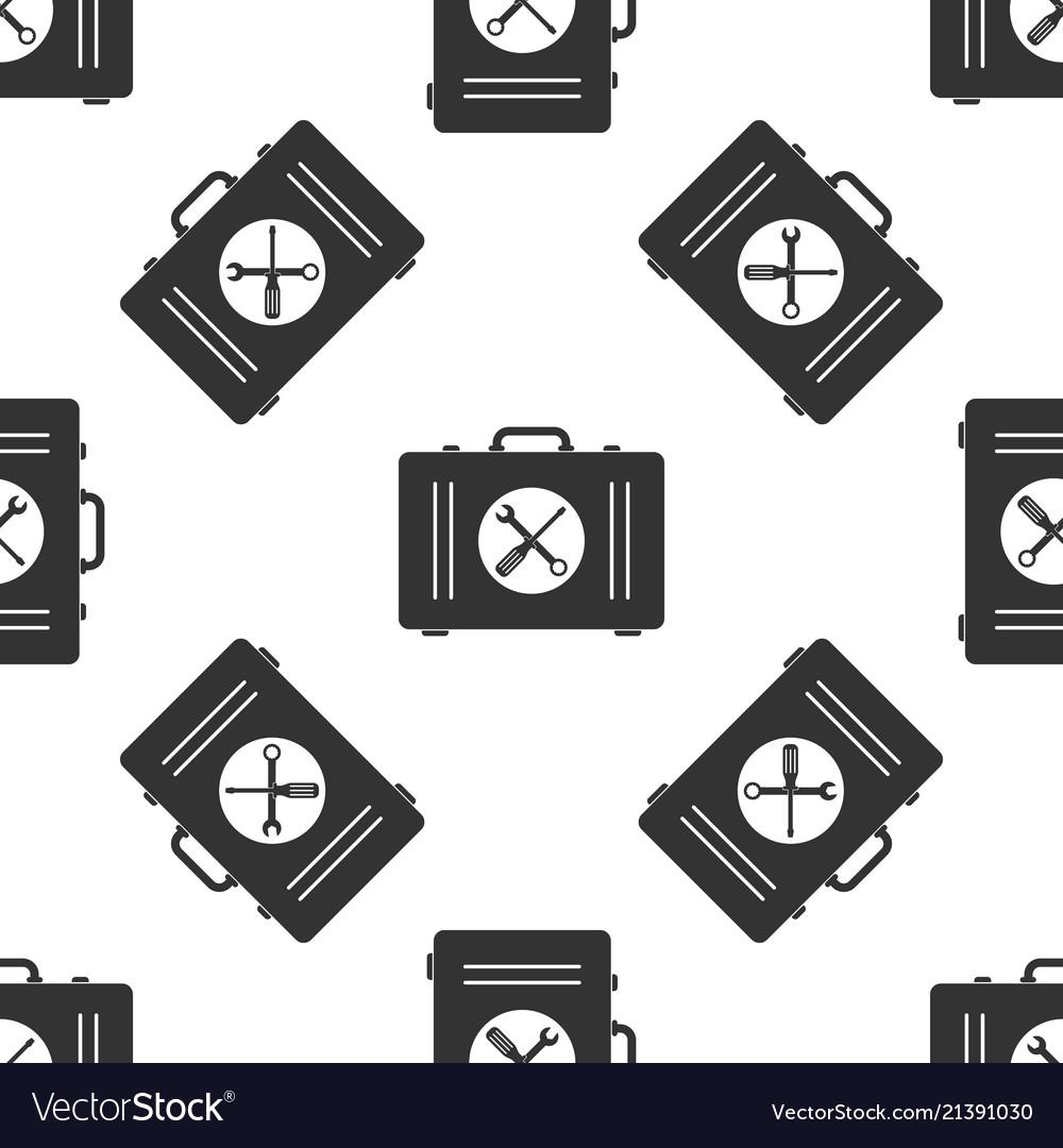 Toolbox icon seamless pattern on white background