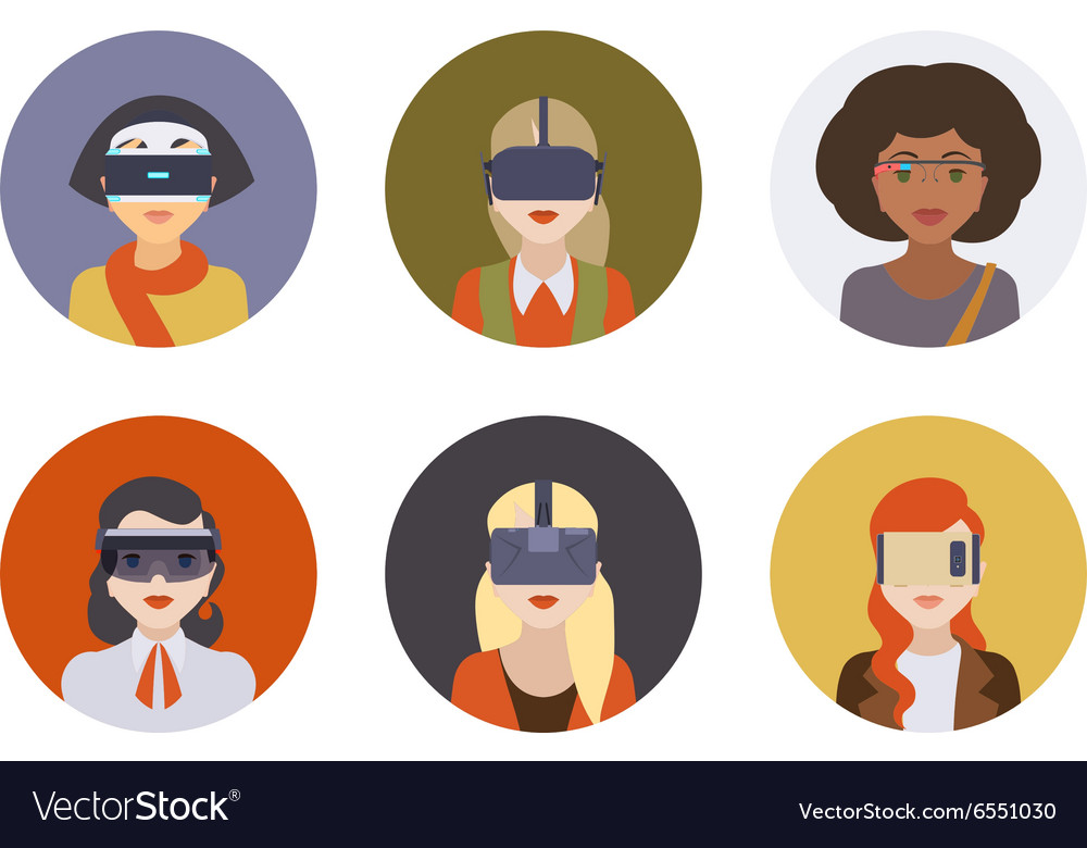 Women in the virtual reality headsets