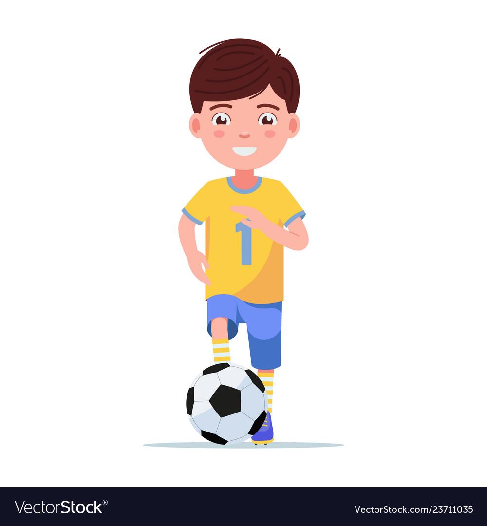 Boy football player in sportswear runs with ball