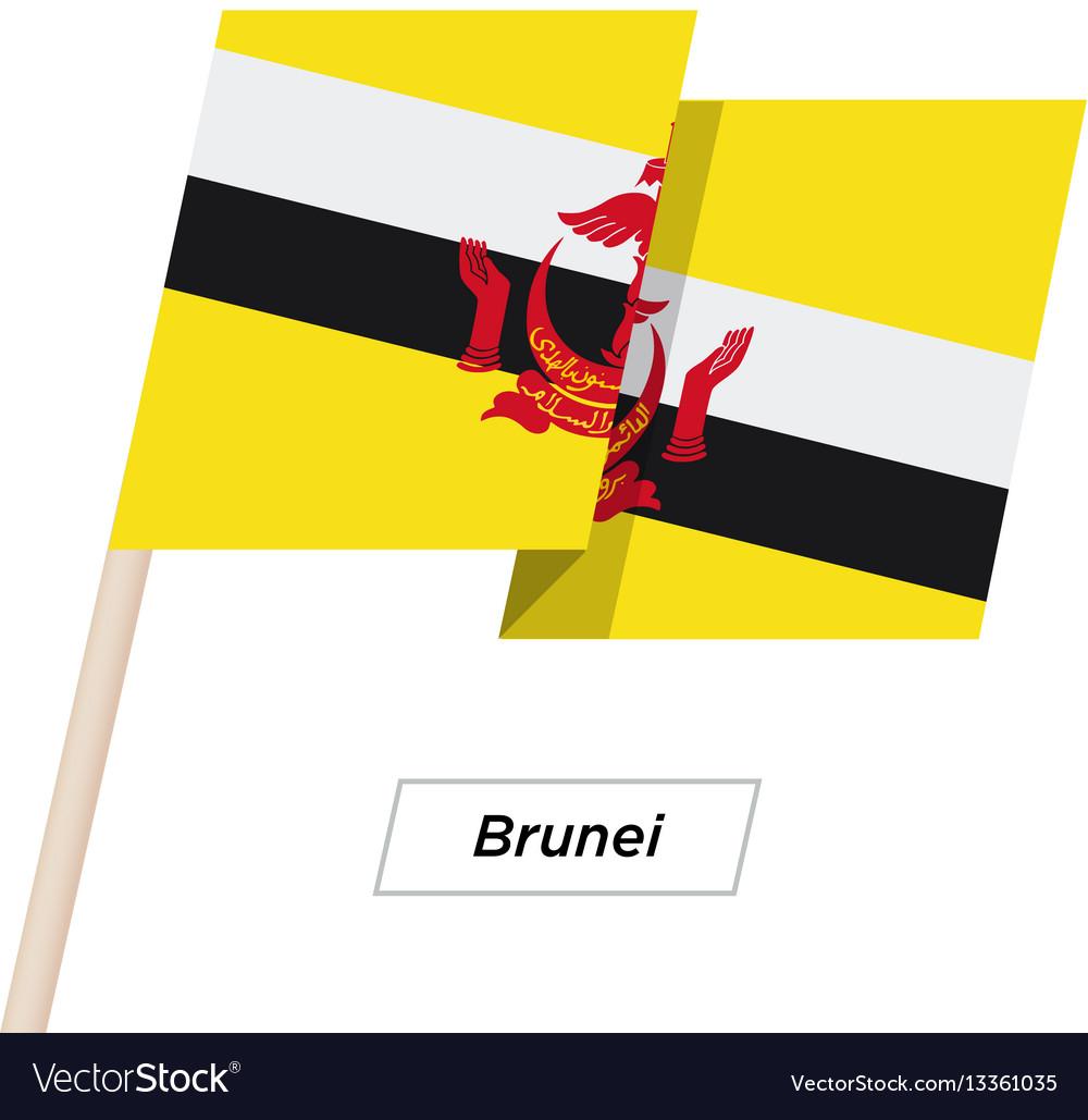 Brunei ribbon waving flag isolated on white vector image
