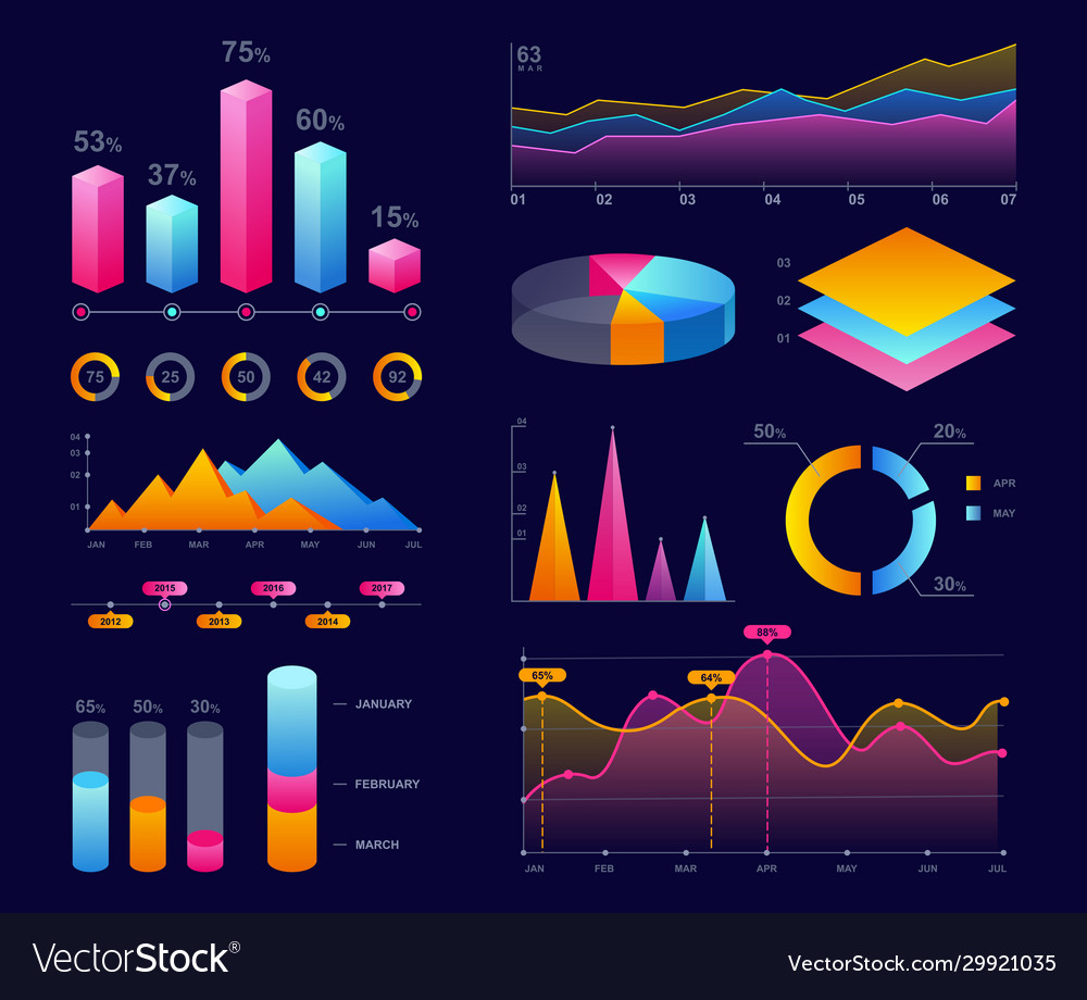 Charts diagrams and graphs colorful