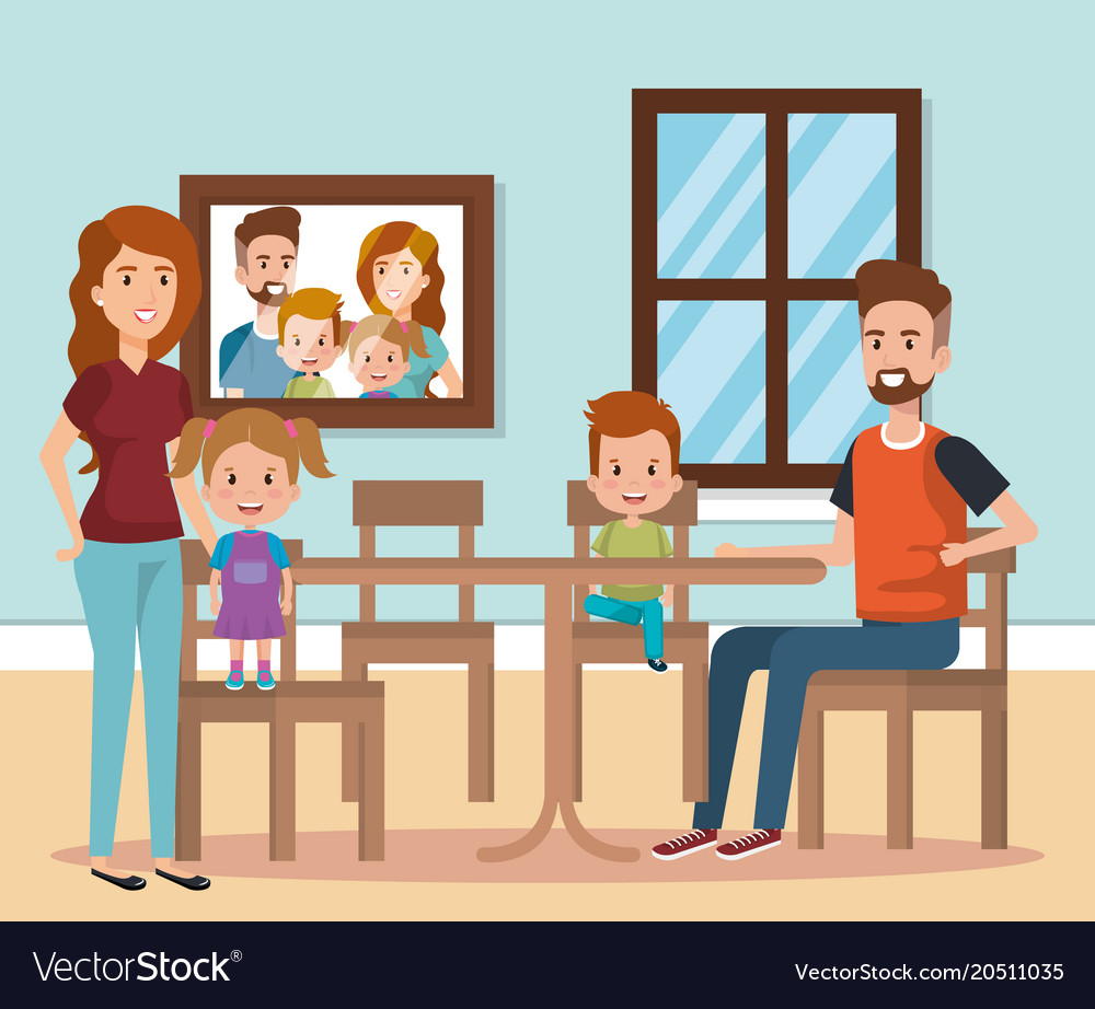 Cute Family Happy In The Dining Room Characters Vector Image