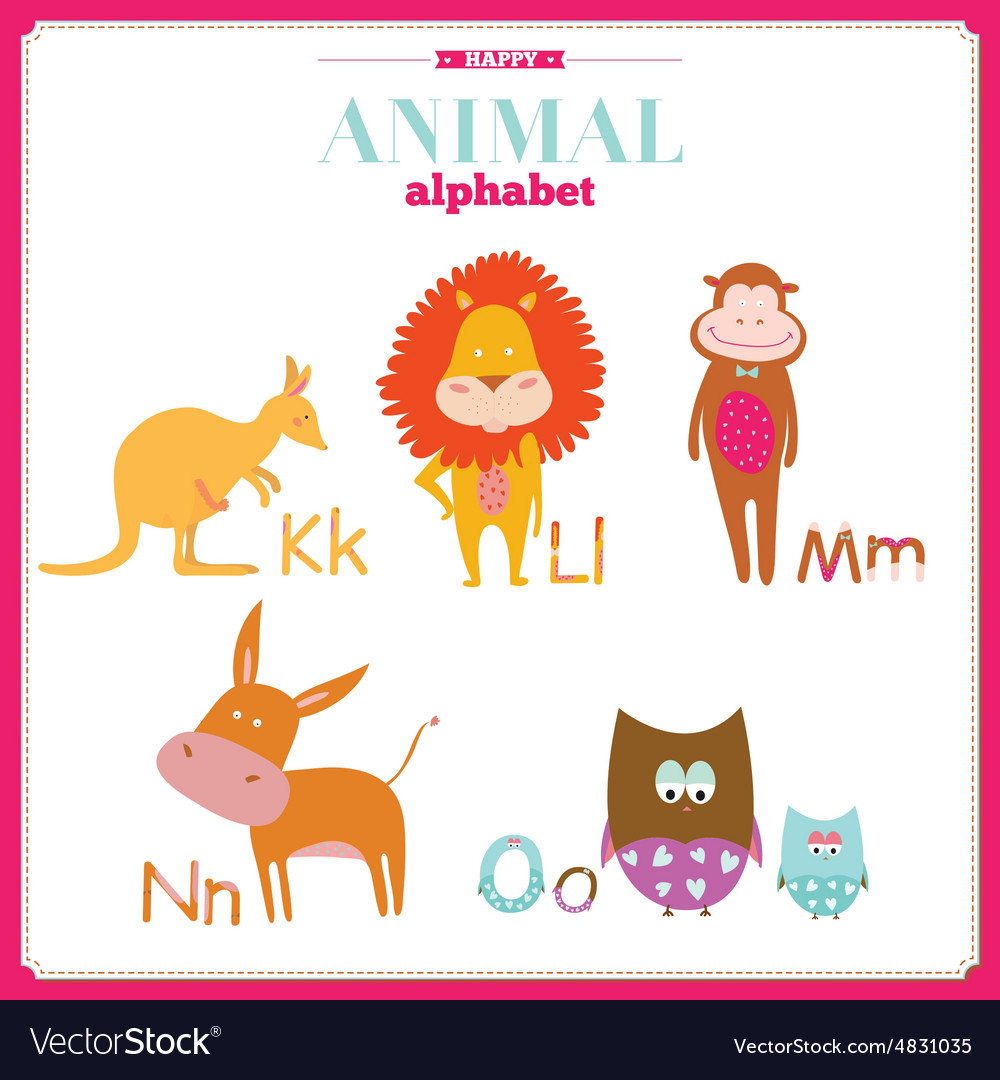Cute zoo alphabet with cartoon and funny