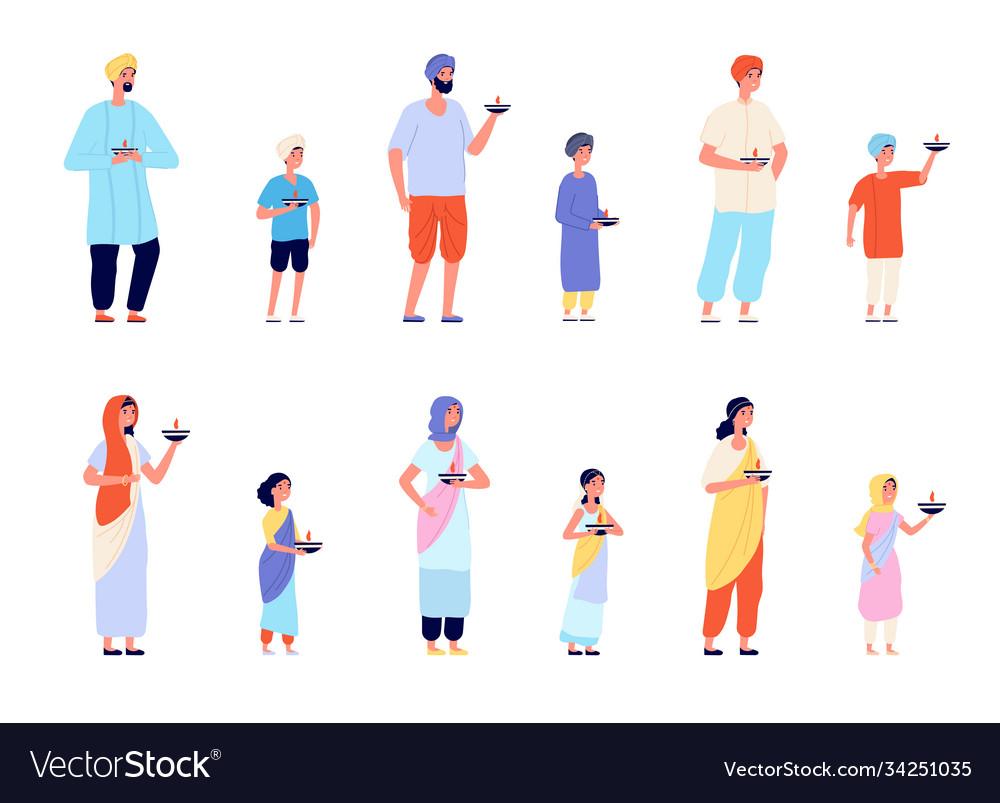 Diwali characters happy asian people fun young