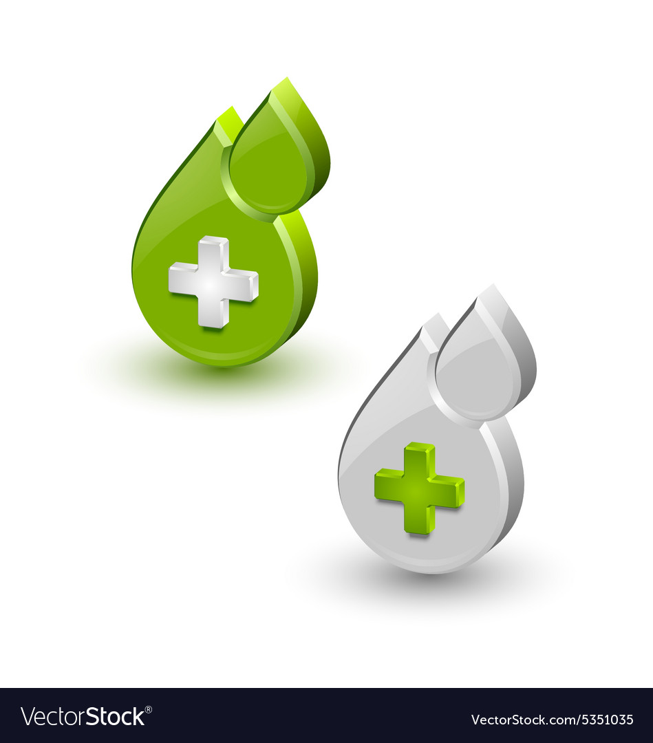 Green blood medical icons